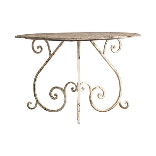 Elyssa 120cm Rustic Off White Distressed Dining Table