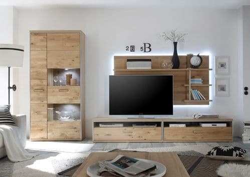 Sturdy designed Esther Oak TV Stand with  Wall Mount