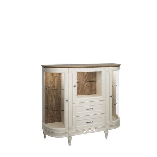 Flora 135cm Vanilla Cream Display  Sideboard With Drawers