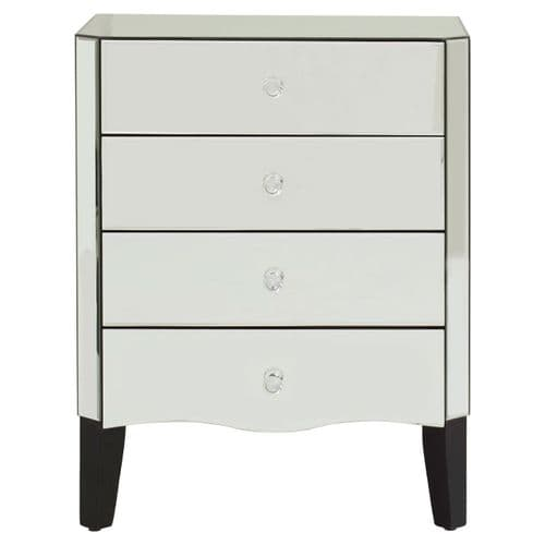 Gerald 4-Drawer Chest Silver Finish Bedroom Furniture