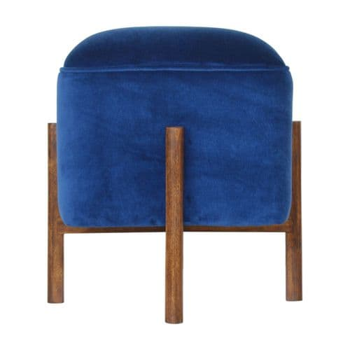 Gifiera Velvet Footstool Royal Blue Home Furniture