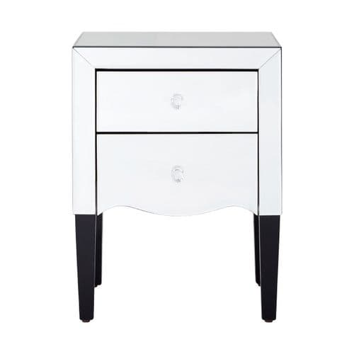 Gustavo 2-Drawer Bedside Table Silver Home Furniture
