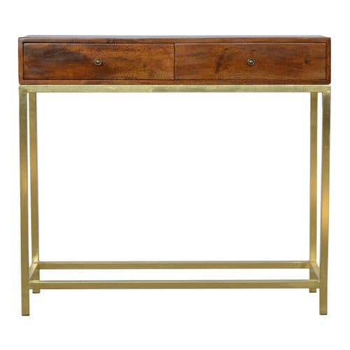Ivanka 2-Drawer Console Table Chestnut Home Furniture