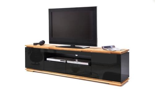 Wooden Skirted Finish Kiki  Black Gloss And Oak TV Stand