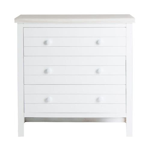Ladar White Wooden Chest Of Drawers - ChicParadisLux