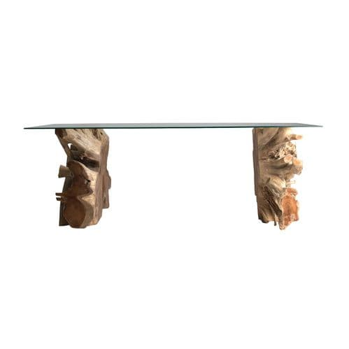 Lewis 240cm Teak Wood Root And Glass Dining Table