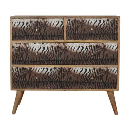 Litano Wooden Chest Tiger Print Home Furniture