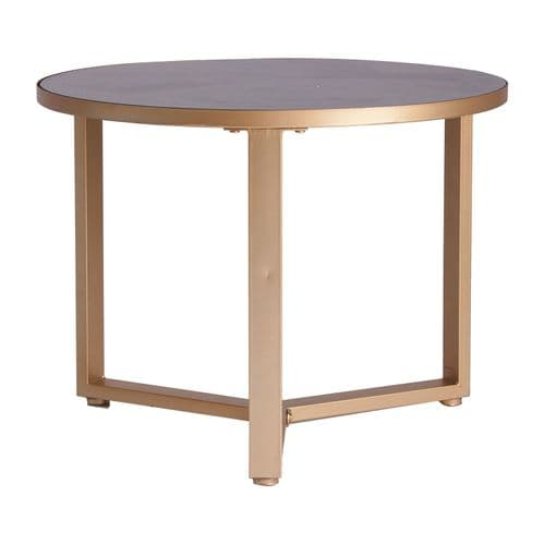 Luciano 60cm Round Gold And Black Side Table