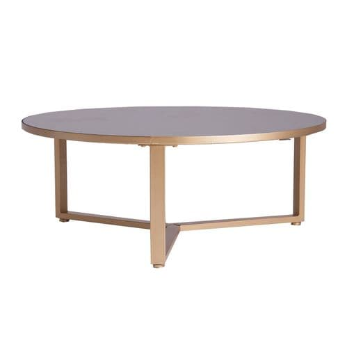 Luciano 90cm Round Gold And Black Coffee Table