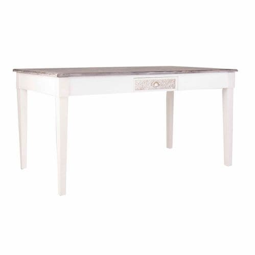 Mariah 160cm Wood And Aluminium Dining Table With Drawer