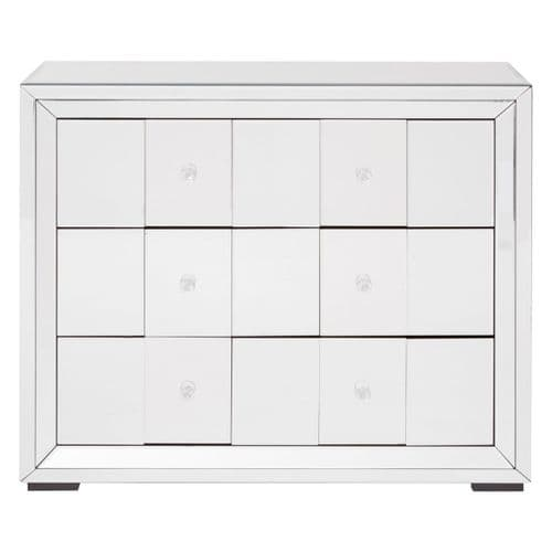 Medio 3-Drawer Cabinet Mirrored Glass Bedroom Furniture