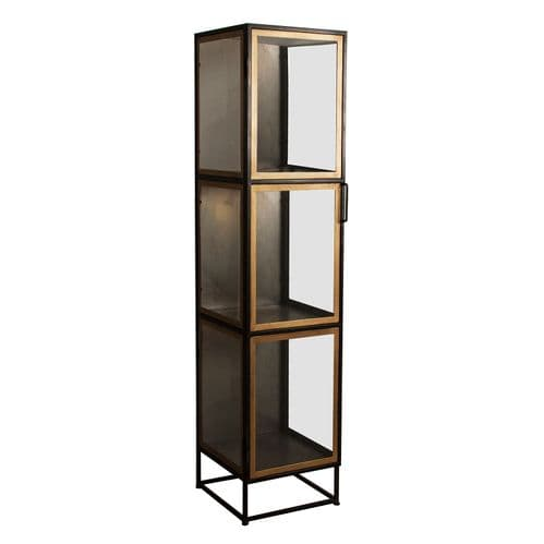 Rikka 37cm Narrow Black And Old Gold Display Cabinet