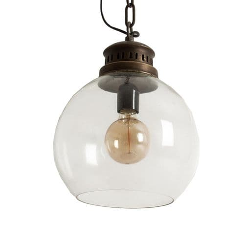 Rikka Single Bulb  Industrial Vintage Old Gold Ceiling Light