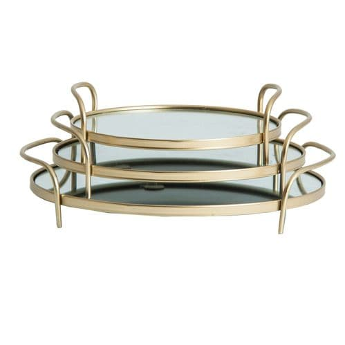 Set Of 3 Oval Mirrored Gold Serving Trays