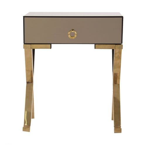 Tako Art Deco Brown Mirrored Bedside Table