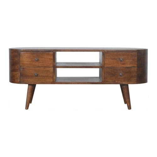 Toshin Rounded Media Unit Chestnut Home Furniture