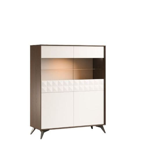 Zenith Low Display Sideboard Beige Cream and Brown Oak Home Furniture