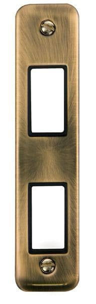 Click Deco Plus Antique Brass DPAB472BK1 Gang Architrave Plate - 2 Apertures - Blacks