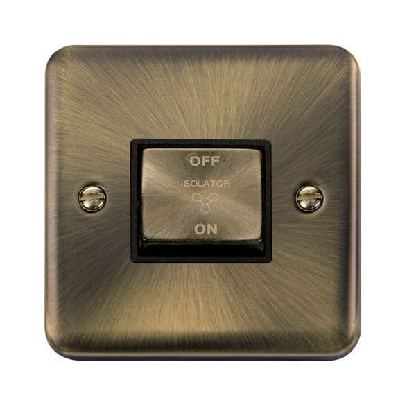 Click Deco Plus Antique Brass DPAB520BK10AX Ingot 3 Pole Fan Isolation Plate Switch - Blacks