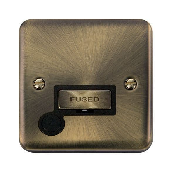 Click Deco Plus Antique Brass DPAB550BK13A Ingot Fused Connection Unit W/ Flex Outlet - Blacks