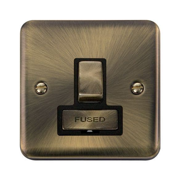 Click Deco Plus Antique Brass DPAB751BK13A Ingot DP Switched Fused Connection Unit - Blacks