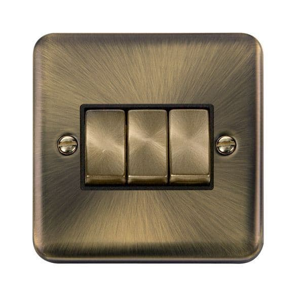 Click Deco Plus Antique Brass DPABBK-SMART3Deco Plus 1G Plate 3 Apertures  3 x 10AX 2 Way