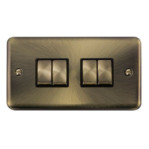 Click Deco Plus Antique Brass DPABBK-SMART4Deco Plus 2G Plate 2 x 2 Apertures  4 x 10AX 2 Way