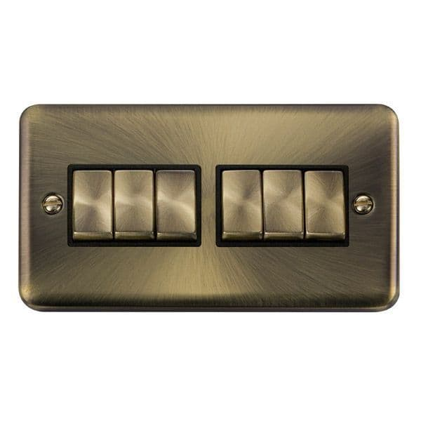 Click Deco Plus Antique Brass DPABBK-SMART6Deco Plus 2G Plate 2 x 3 Apertures  6 x 10AX 2 Way