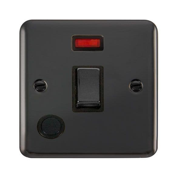 Click Deco Plus Black Nickel DPBN523BK20A Ingot 1 Gang DP Switch W/ Flex Outlet & Neon - Blacks