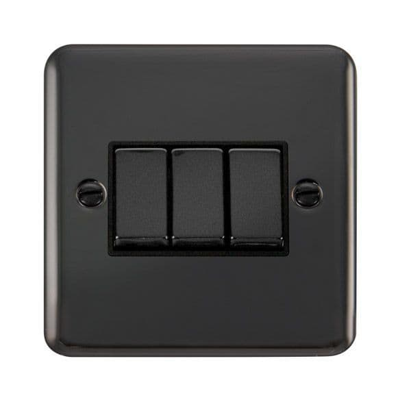 Click Deco Plus Black Nickel DPBNBK-SMART3Deco Plus 1G Plate 3 Apertures  3 x 10AX 2 Way
