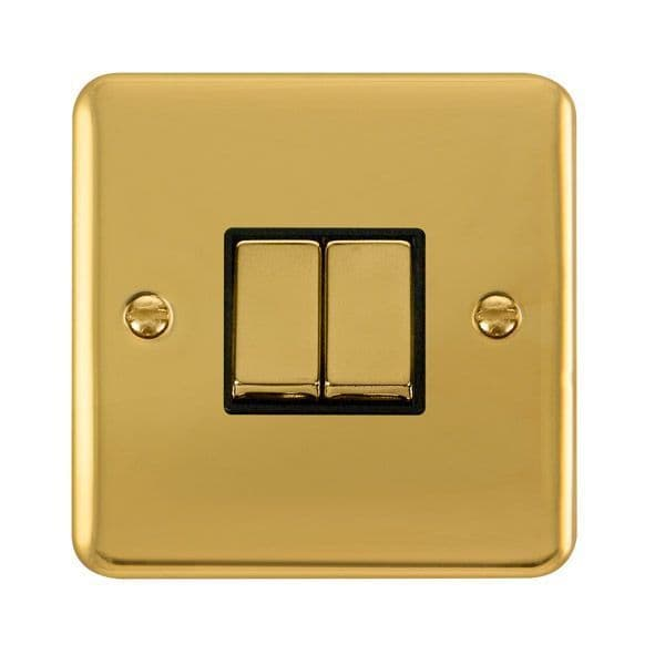 Click Deco Plus Polished Brass DPBR412BK10AX Ingot 2 Gang 2 Way Plate Switch - black