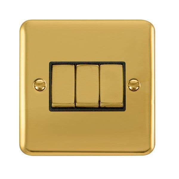Click Deco Plus Polished Brass DPBR413BK10AX Ingot 3 Gang 2 Way Plate Switch - black