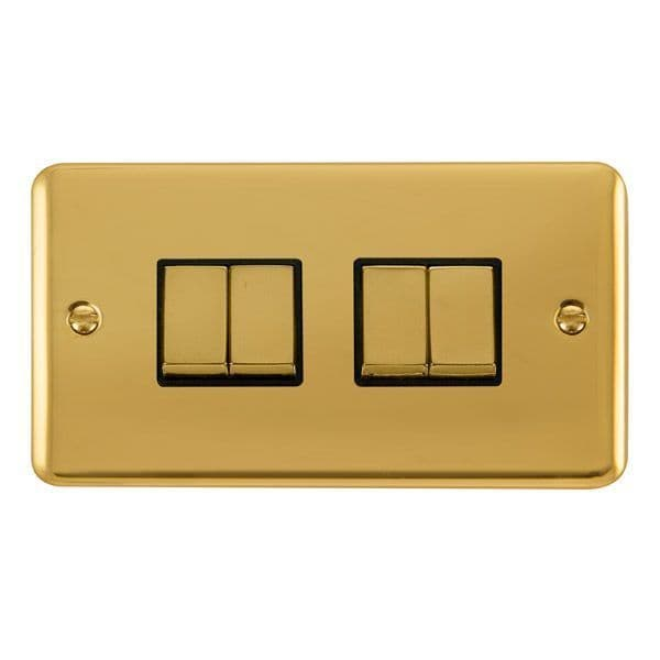 Click Deco Plus Polished Brass DPBR414BK10AX Ingot 4 Gang 2 Way Plate Switch - black