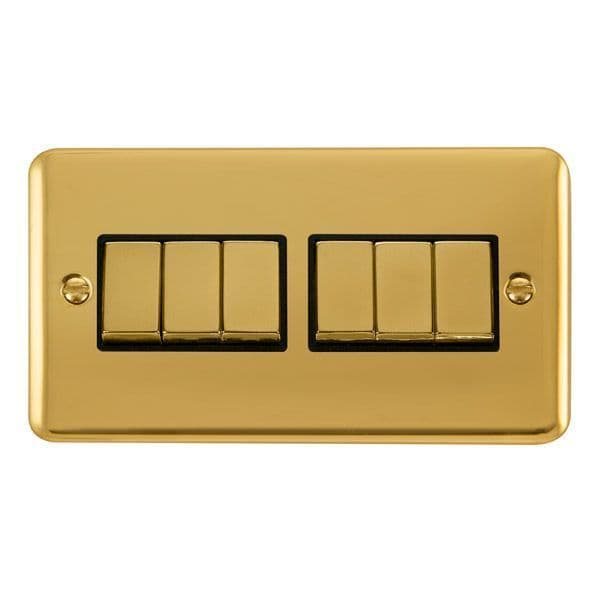 Click Deco Plus Polished Brass DPBR416BK10AX Ingot 6 Gang 2 Way Plate Switch - black