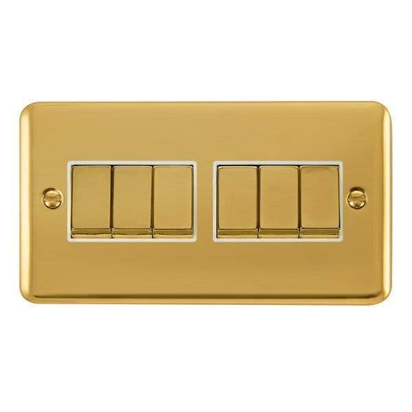 Click Deco Plus Polished Brass DPBR416WH10AX Ingot 6 Gang 2 Way Plate Switch - white