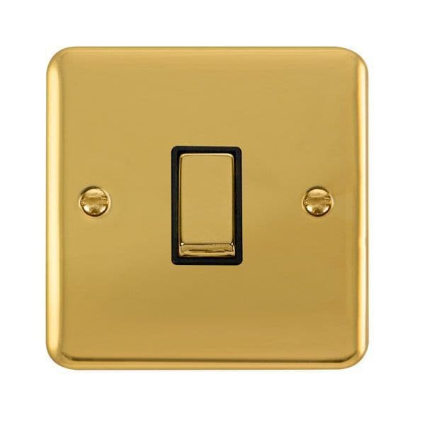 Click Deco Plus Polished Brass DPBR425BK10AX Ingot 1 Gang Intermediate Plate Switch - black