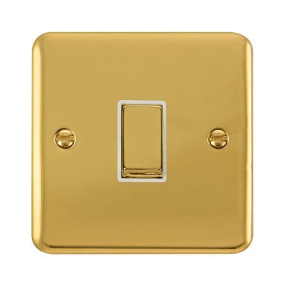 Click Deco Plus Polished Brass DPBR425WH10AX Ingot 1 Gang Intermediate Plate Switch - white