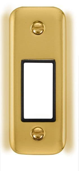 Click Deco Plus Polished Brass DPBR471BK1 Gang Architrave Plate - 1 Aperture - black