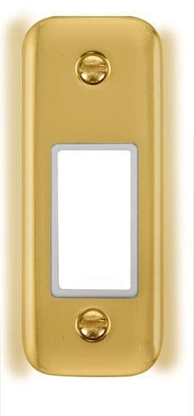 Click Deco Plus Polished Brass DPBR471WH1 Gang Architrave Plate - 1 Aperture - white