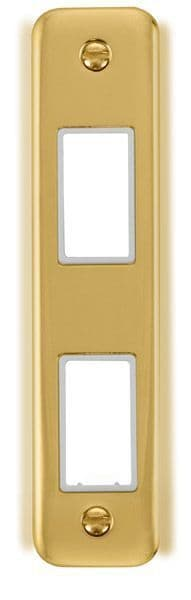 Click Deco Plus Polished Brass DPBR472WH1 Gang Architrave Plate - 2 Apertures - white