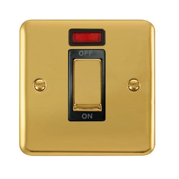 Click Deco Plus Polished Brass DPBR501BK45A Ingot 1 Gang DP Switch W/ Neon - black