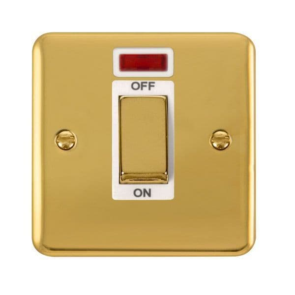 Click Deco Plus Polished Brass DPBR501WH45A Ingot 1 Gang DP Switch W/ Neon - white