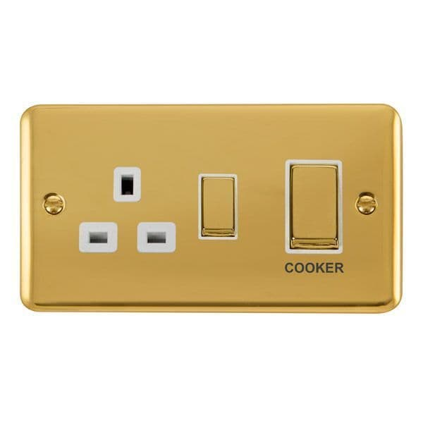 Click Deco Plus Polished Brass DPBR504WH45A Ingot 2 Gang DP Switch W/ 13A DP Switched Socket - white