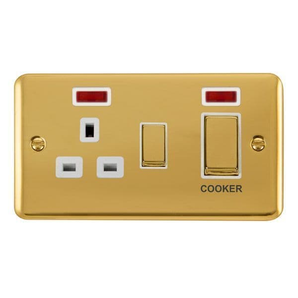 Click Deco Plus Polished Brass DPBR505WH45A Ingot 2 Gang DP Switch W/ 13A DP Switched Socket & Neons