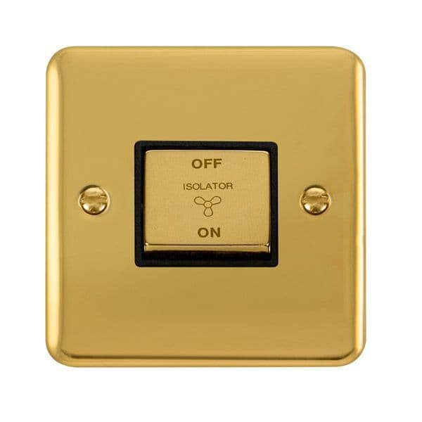 Click Deco Plus Polished Brass DPBR520BK10AX Ingot 3 Pole Fan Isolation Plate Switch - black