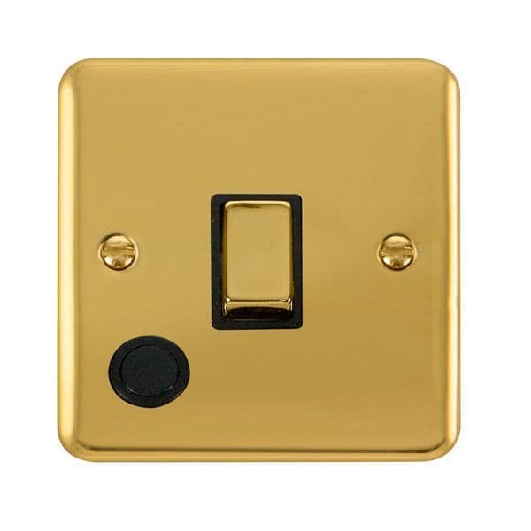 Click Deco Plus Polished Brass DPBR522BK20A Ingot 1 Gang DP Switch W/ Flex Outlet - black
