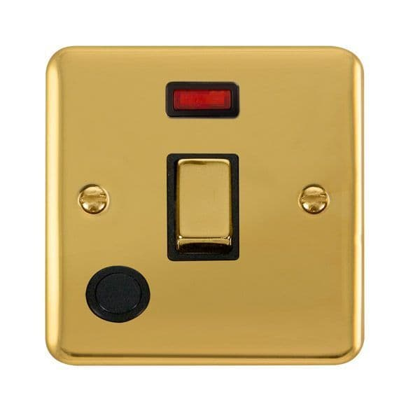 Click Deco Plus Polished Brass DPBR523BK20A Ingot 1 Gang DP Switch W/ Flex Outlet & Neon - black