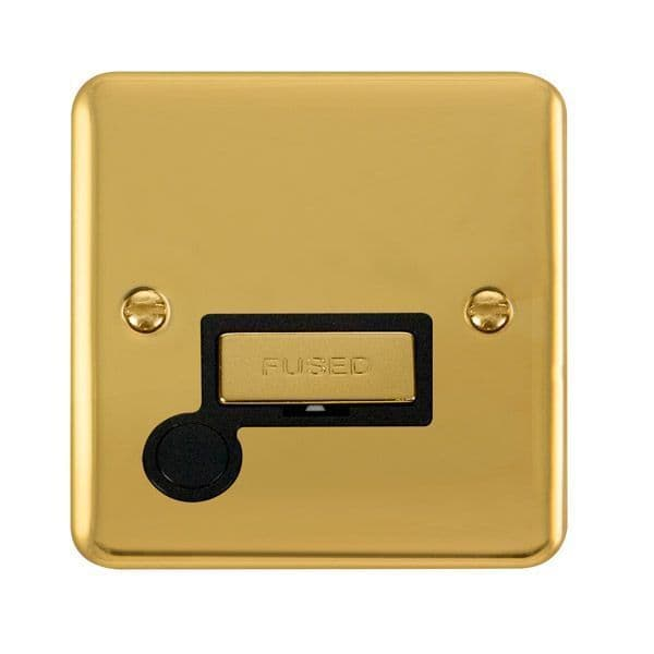 Click Deco Plus Polished Brass DPBR550BK13A Ingot Fused Connection Unit W/ Flex Outlet - black