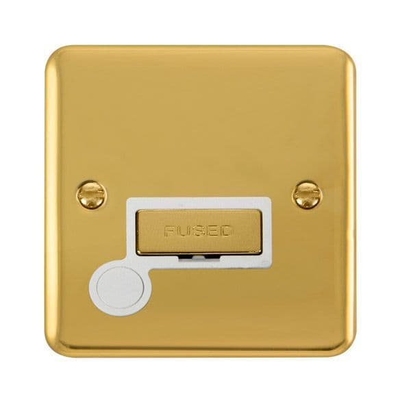 Click Deco Plus Polished Brass DPBR550WH13A Ingot Fused Connection Unit W/ Flex Outlet - white