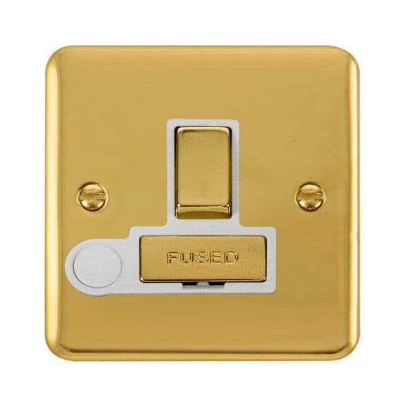 Click Deco Plus Polished Brass DPBR551WH13A Ingot DP Switched Fused Connection Unit W/ Flex Outlet